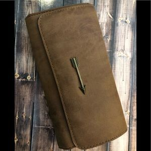 Other - Brown Wallet with a button close & zippered pouch